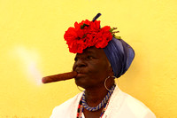 Woman with famous cuban cigar